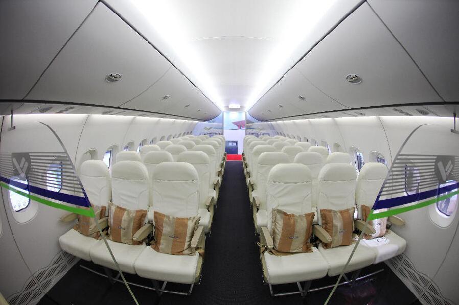 国产大飞机c919机舱内部照片公布