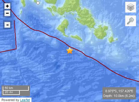 所罗门群岛附近发生5.2级地震 不会引发海啸